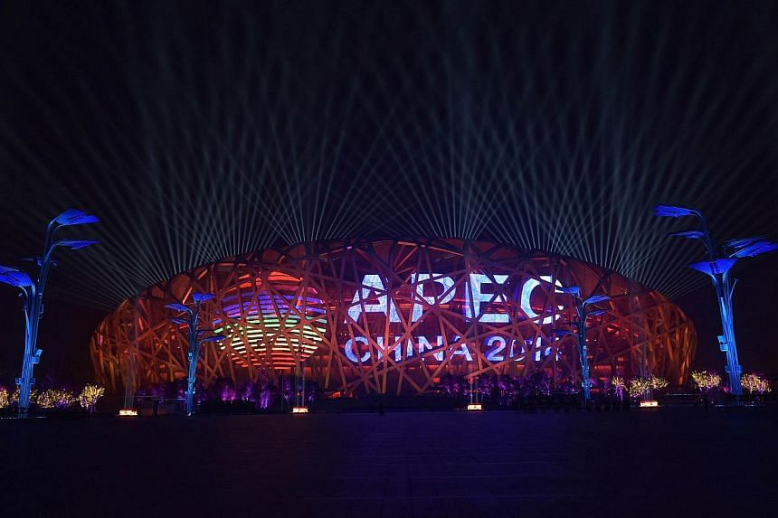 A general view shows the Beijing National Aquatics Center where leaders of the Asia-Pacific Economic Cooperation (Apec) meet in the Chinese capital on Nov 10, 2014. -- PHOTO: AFP