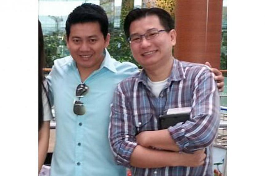 Pix of Vietamese tourist, from left, Mr Pham Van Thoai and Mr Gabriel Kang at Changi Airport before Mr Pham's departure, Nov 7, 2014.Singaporean Gabriel Kang has received between 30 to 50 e-mails requesting to use the S$16,000 he raised to buy