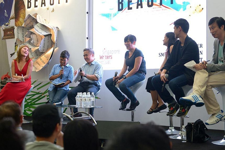 (From left) Theatre director Loretta Chen, director of the Singapore Art Museum Susie Lingham, writer and lawyer Adrian Tan, playwright Eleanor Wong, writer and poet Conchitina Cruz from the Philippines, arts writer Darryl Wee and poet and literary c