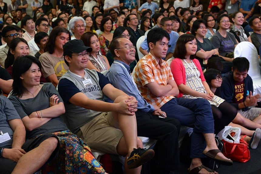 Audience members listening to the panel at the True Art Is Always Ugly debate at the Singapore Writers Festival on Nov 9, 2014. -- ST PHOTO:NG SOR LUAN