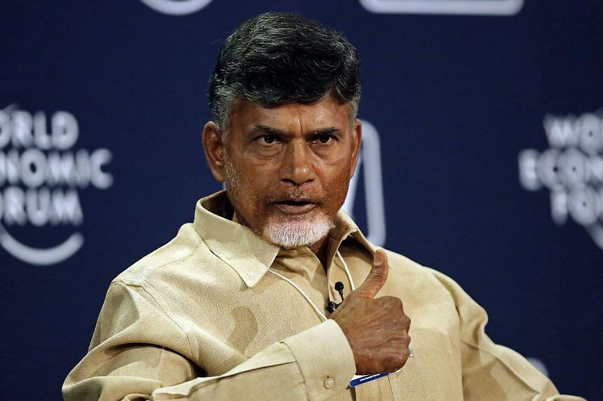 N. Chandrababu Naidu, chief minister of the southern Indian state of Andhra Pradesh, speaks during the India Economic Summit 2014 at the World Economic Forum in New Delhi on Nov 6, 2014.Mr Naidu will be visiting Singapore from Nov 12 to 14, on