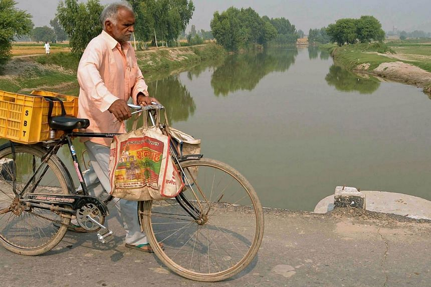 The Sutlej river in the village of Dona Nanka on the Indian-Pakistan border is heavily contaminated with lead, uranium and other metals.-- PHOTO: AFP