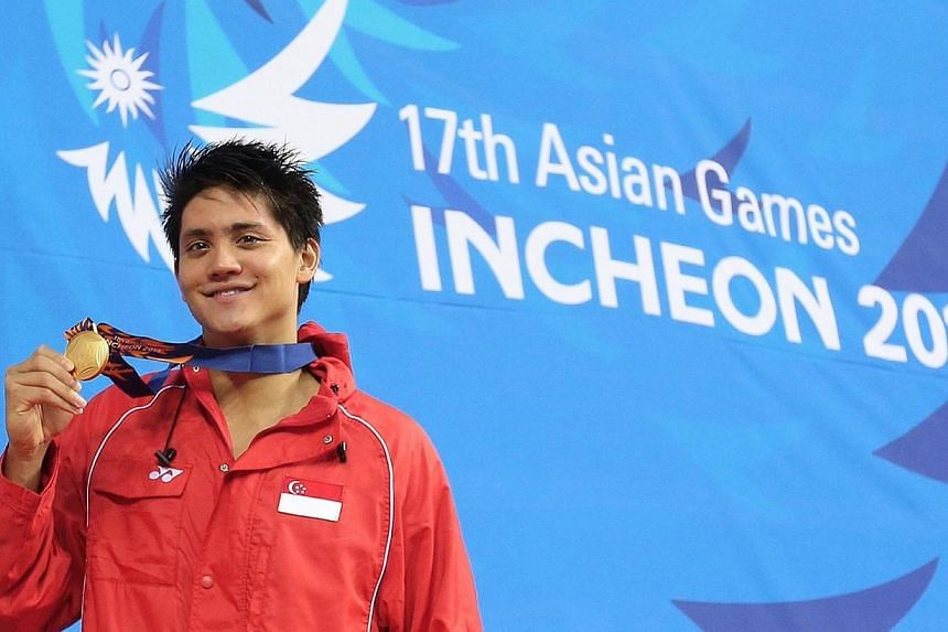 Joseph Schooling at the 17th Asian Games Incheon 2014 Men's 100m butterfly event held at the Munhak Park Tae-Hwan Aquatics Center in Incheon, South Korea on Sept 24, 2014.  -- ST PHOTO:  NEO XIAOBIN