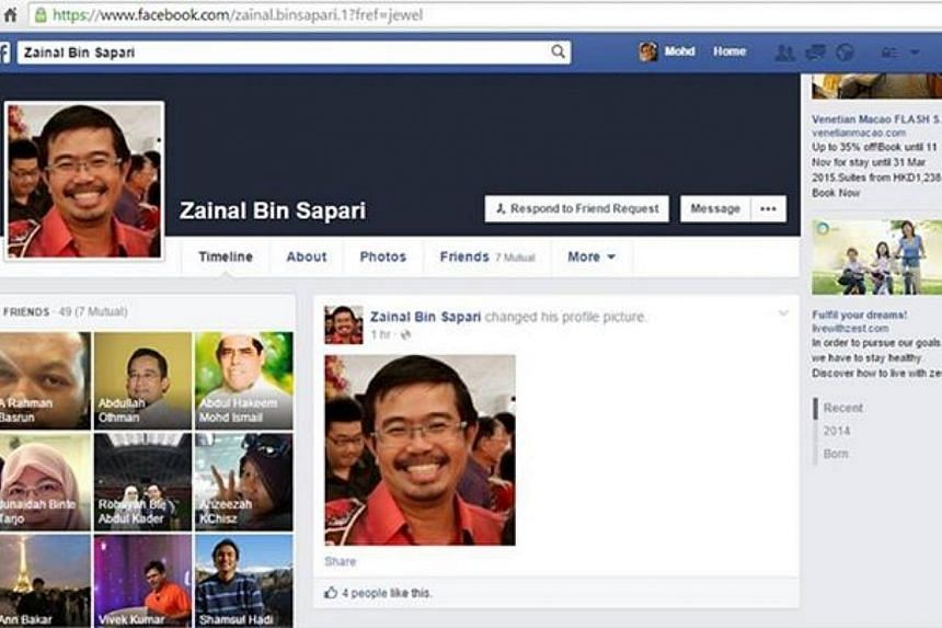 Member of Parliament Zainal Sapari has alerted his social media friends and followers to an imposter posing as him in a Facebook account and asking for money. -- PHOTO: SCREENSHOT FROM FACEBOOK