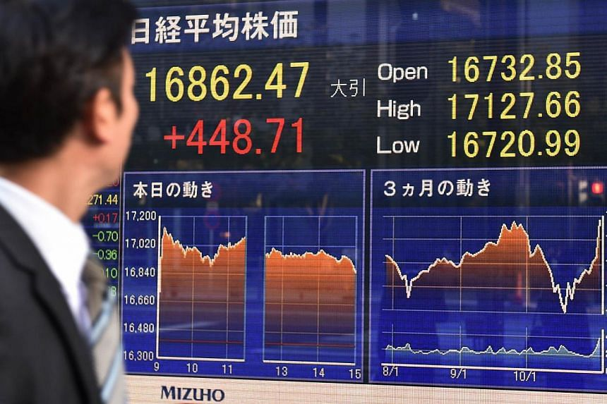 Asian markets mostly rose Tuesday after US shares tapped fresh records for a fourth straight session, while a weaker yen helped Japan's Nikkei extend its recent rally. -- PHOTO: AFP