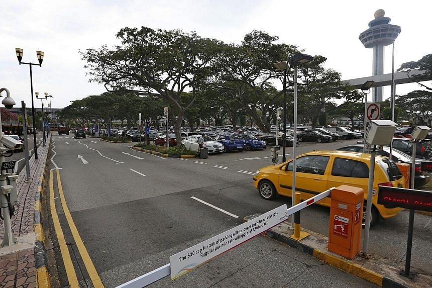 The carpark at Changi Airport Terminal 1 (T1) is now permanently closed to make way for the construction of Project Jewel. -- ST PHOTO:KEVIN LIM