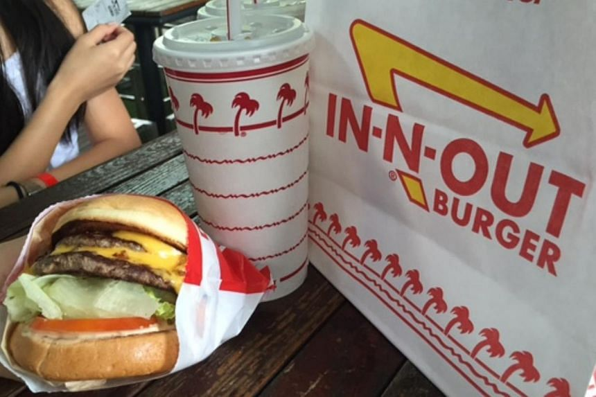 An In-N-Out double-double burger. -- ST PHOTO: AUDREY TAN