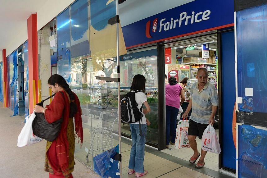 Shoppers at NTUC Fairprice in Rivervale Plaza. -- ST PHOTO: JOYCE FANG