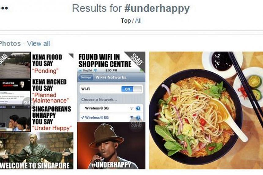 The hashtag #underhappy has been trending on Twitter. -- PHOTO: SCREENGRAB FROM TWITTER