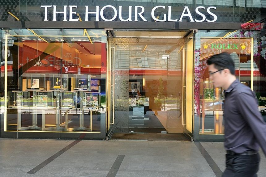 Luxury watch retailer The Hour Glass reported a 24 per cent jump in second quarter net profit to $11.7 million. -- ST PHOTO: AZIZ HUSSIN
