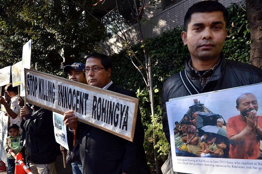 Myanmar ethnic Rohingya Muslims living in Japan stage a rally outside of the Myanmar embassy in Tokyo on Nov 4, 2014 against reported plans to relocate Rohingya to settlement sites. Most of Myanmar's 1.1 million Rohingya Muslims are stateless and liv