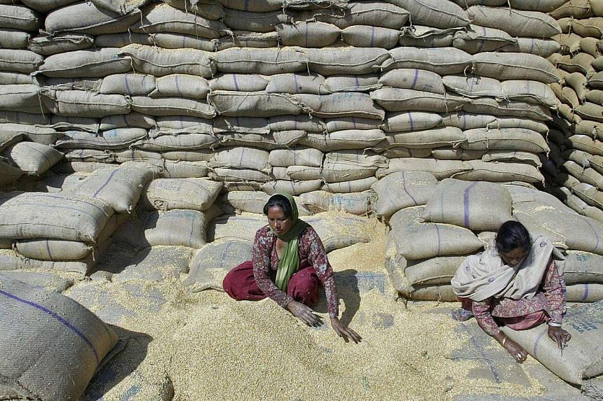 Female labourers collect wheat at a warehouse of Punjab State Civil Supplies Corporation Limited on the outskirts of the northern Indian city of Amritsar in this March 14, 2013 file photo.Washington and New Delhi said Thursday they have resolve