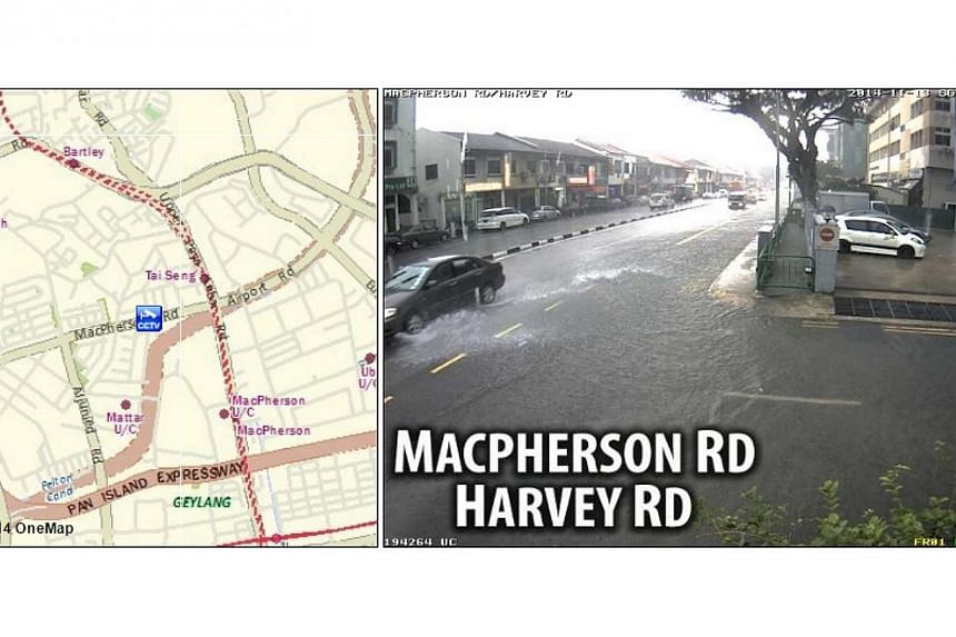 PUB followed up with a series of tweets about more flash floods at MacPherson/Harvey Roads (pictured) as well as Lorongs Ong Lye and Gambir. -- PHOTO: PUB SINGAPORE