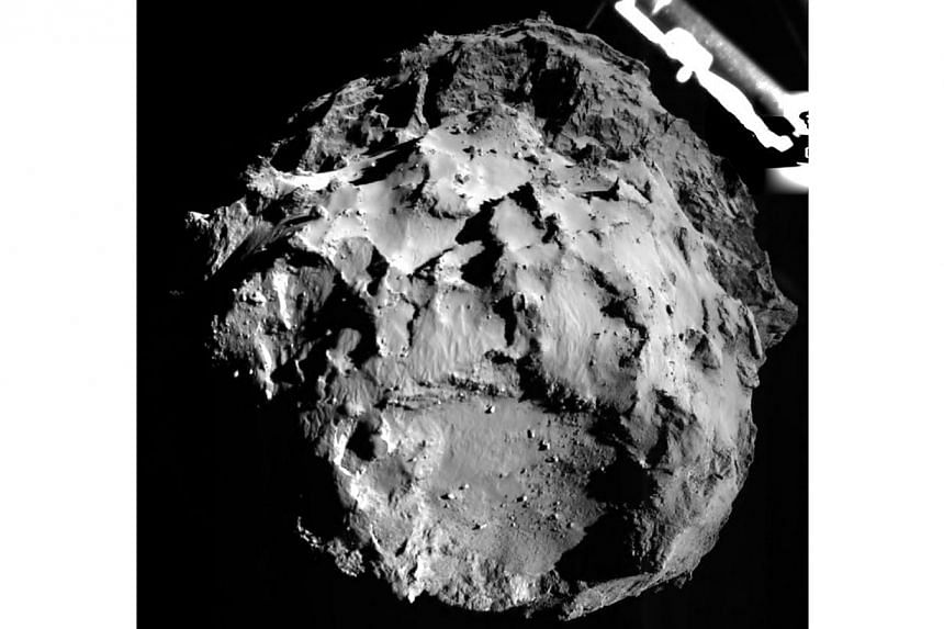 Comet 67P/CG, acquired by the ROLIS instrument on the Philae lander during descent from a distance of approximately 3km from the surface is pictured in this Nov 12, 2014 European Space Agency handout image. Europe's robot probe Philae may not be secu