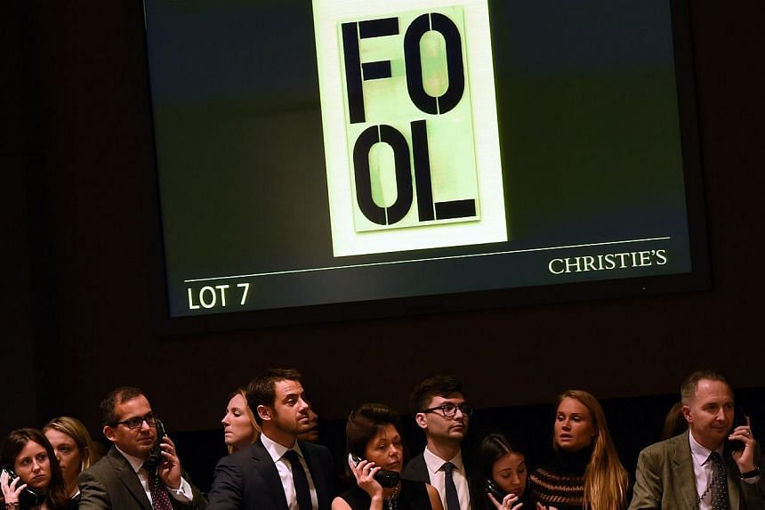 And the bidding is on at the Christies Auction in New York on Wednesday, where sales totaled a record US$852.9 million (S$1.1 billion) of contemporary and post-war. -- PHOTO: REUTERS