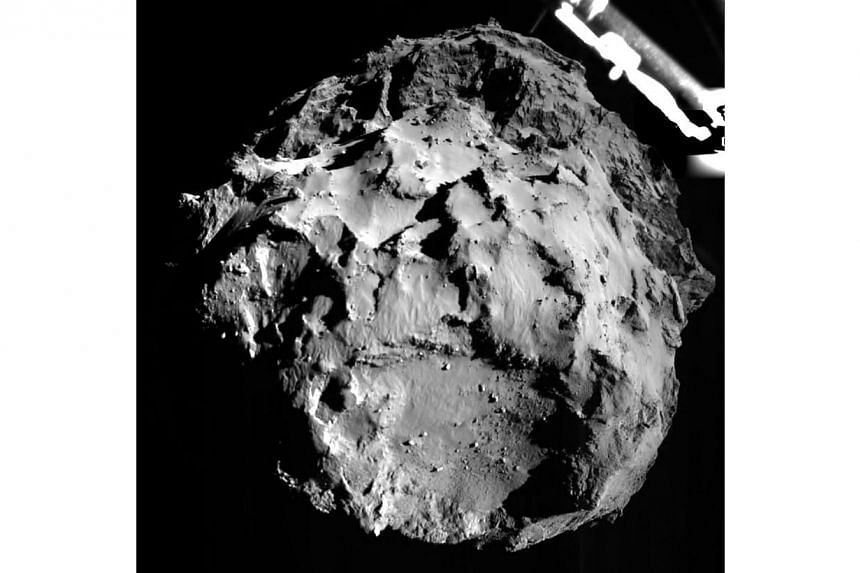 A picture of Comet 67P/Churyumov-Gerasimenko captured by the Philae lander during descent from a distance of approximately 3km from the surface on Nov 12, 2014. -- PHOTO: AFP