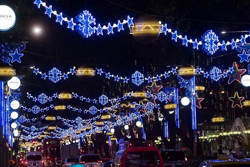 This year's Christmas light-up along Orchard Road include multi-coloured Christmas trees and glittering blue snowflakes. -- PHOTO: ORCHARD ROAD BUSINESS ASSOCIATION