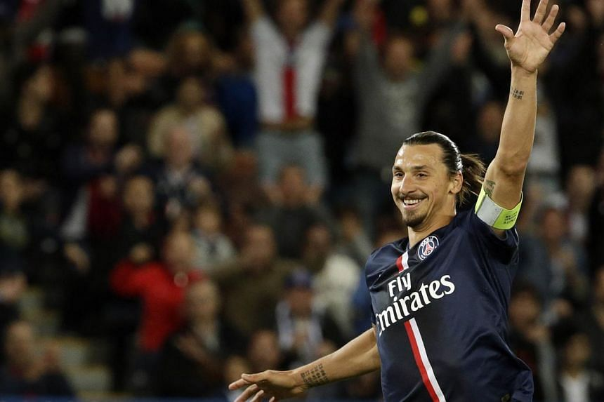 Paris Saint-Germain's Swedish midfielder Zlatan Ibrahimovic celebrates after scoring a goal during the French L1 football match Paris Saint-Germain versus Saint-Etienne on Aug 31. Ibrahimovic has once again made the shortlist of for Fifa's goal of th