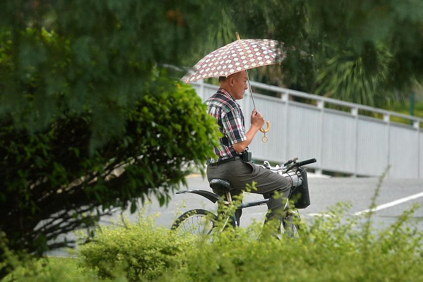 A cyclist holds an umbrella on Nov 13, 2014. -- ST PHOTO: KUA CHEE SIONG