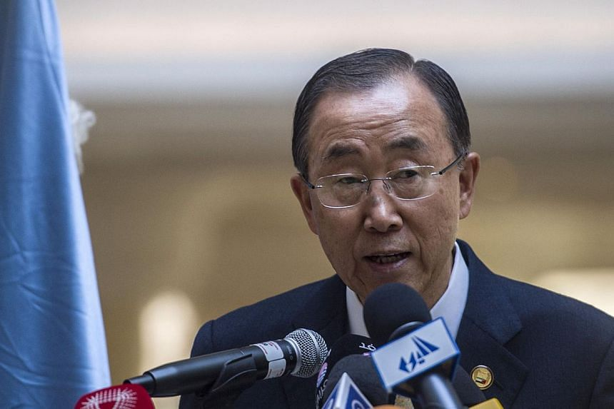 United Nations Secretary General Ban Ki Moon speaks during a press conference at the Gaza Donor Conference in Cairo on Oct 12, 2014, aimed at helping the Gaza Strip pummelled by the 50-day war between Israel and Hamas militants earlier this year. --