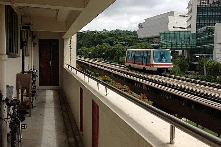 View from a HDB block near the Bukit Panjang LRT tracks. -- PHOTO: ST FILE