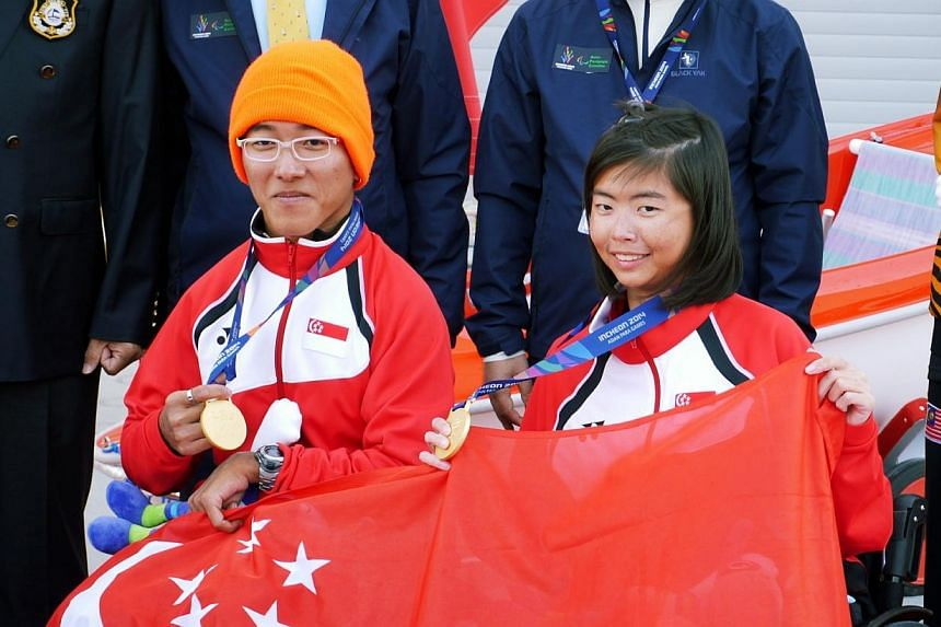 Singapore para sailors Jovin Tan (left) and Yap Qian Yin, who won gold in the Hansa303Double Handed event at the Asian Para Games held in Incheon, South Korea on Oct 22, 2014. The success of Singapore's sailors were celebrated for the second mon