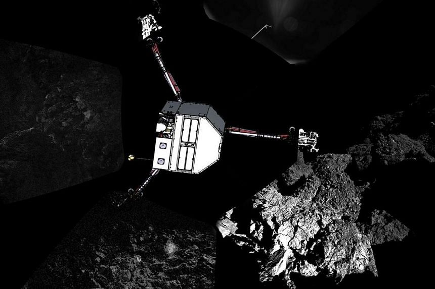 A panoramic image of the surface of Comet 67P/Churyumov–Gerasimenko captured by Rosetta's lander Philae's CIVA-P imaging system, with a sketch of the lander in the configuration the lander team currently believe it is in superimposed on top, is s