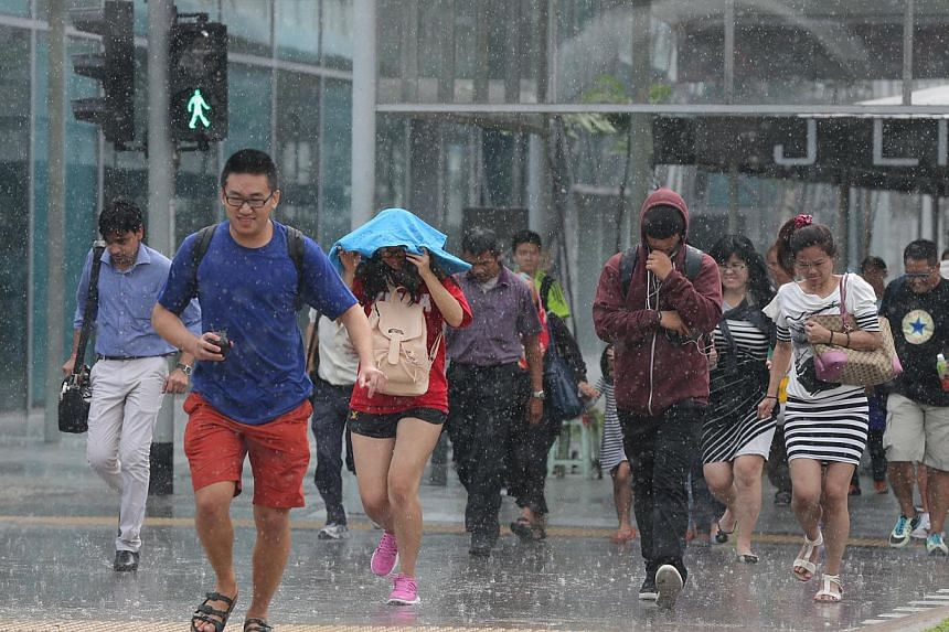 Pedestrians caught in the rain make a run for it at Jurong Gateway Road on Nov 13, 2014. -- ST PHOTO: ONG WEE JIN