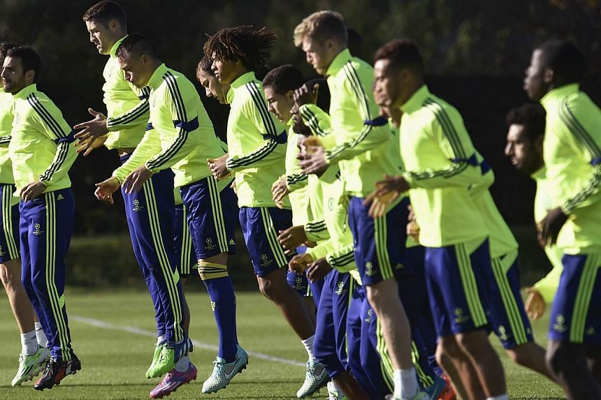 Chelsea squad members train at Cobham in south England Nov 4, 2014. Chelsea chairman Bruce Buck said the club would become increasingly self-sufficient after he announced the Premier League leaders had made a profit of £18.4 million (S$37.4 mil