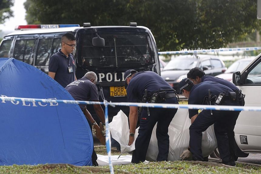 Police removing a body that was found next to a white van with shattered glass on the door of the driver's side at Sembawang Park on Nov 14, 2014. -- ST PHOTO: KEVIN LIM