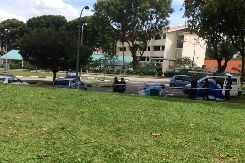 An Indian man in his 30s was found dead at the rear of a white van in a carpark at Sembawang Park on Friday afternoon.-- PHOTO: RACHEL LING