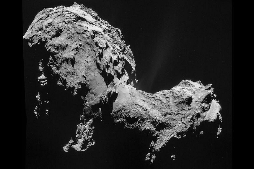 A photo released by the European Space Agency shows a four-image NAVCAM mosaic of Comet 67P/Churyumov-Gerasimenko, using images taken on 19 September when mothership Rosetta was 28.6 km from the comet. --PHOTO: AFP