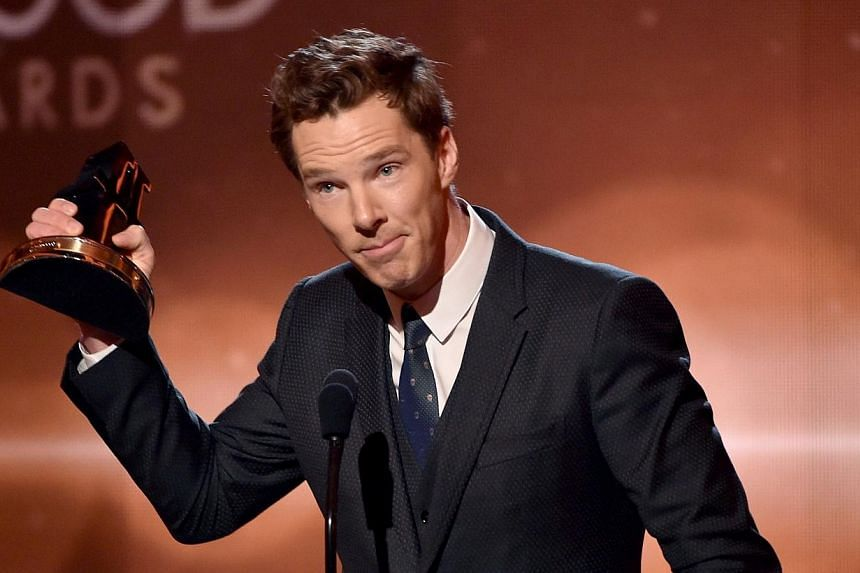 Actor Benedict Cumberbatch accepts the Hollywood Actor Award for The Imitation Game onstage during the 18th Annual Hollywood Film Awards at The Palladium on Nov 14, 2014, in Hollywood, California. -- PHOTO: AFP