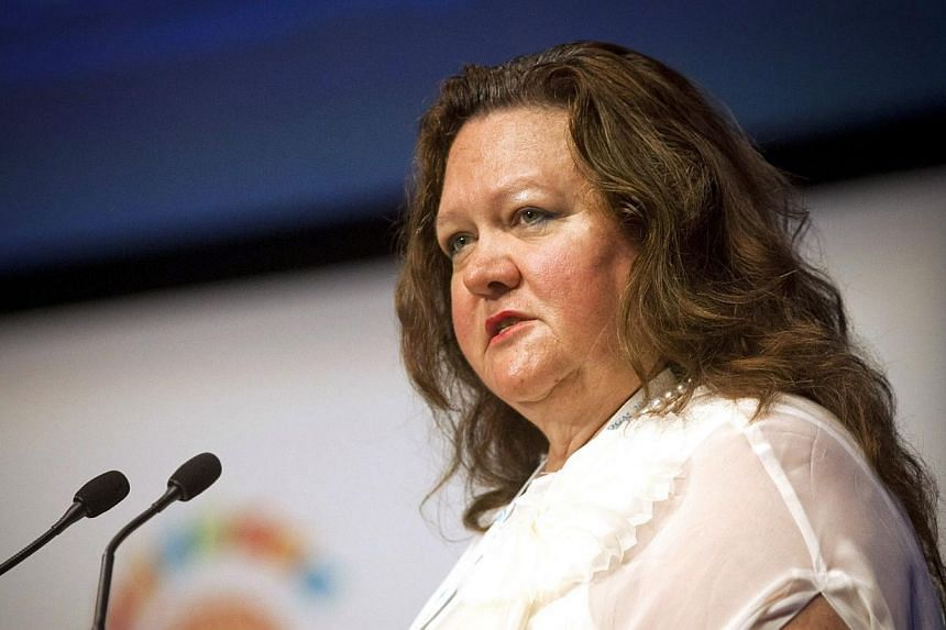Ms Gina Rinehart speaks at the Commonwealth Business Forum in Perth, Australia, on Wednesday on Oct 26, 2011. -- PHOTO: BLOOMBERG