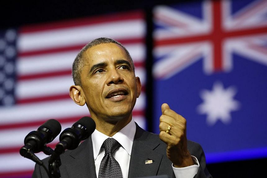 US President Barack Obama speaks at the University of Queensland in Brisbane on Nov 15, 2014. Mr Obama is in Brisbane for the G20 Summit being held there over the weekend. -- PHOTO: REUTERS