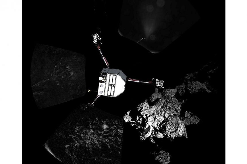 A handout photo released on Nov 13, 2014 by the European Space Agency, and captured on Nov 12 by the CIVA-P imaging system, shows a 360 degree view of the surface of comet 67P/Churyumov-Gerasimenko around the point of final touchdown, during Philae's
