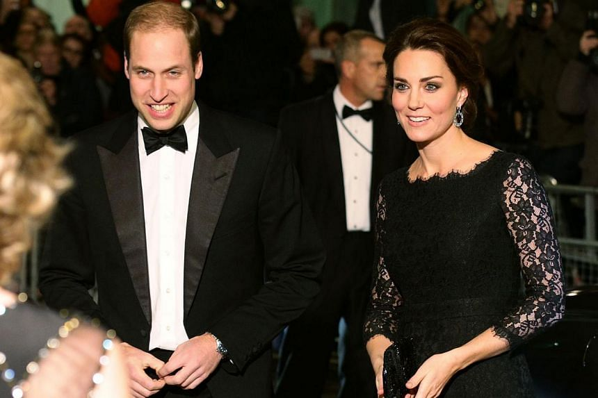 Britain's Catherine, Duchess of Cambridge (right) and Prince William, the Duke of Cambridge arrive to attend the Royal Variety Performance at the London Palladium Theatre on Nov 13, 2014. Prince William and his wife Kate will travel to New York for t