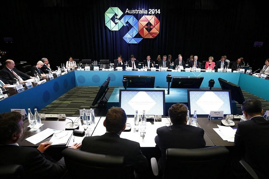 G-20 leaders representing the bulk of the world's economy committed to reform measures to lift their collective growth by an extra 2.1 per cent by 2018. -- PHOTO: AFP