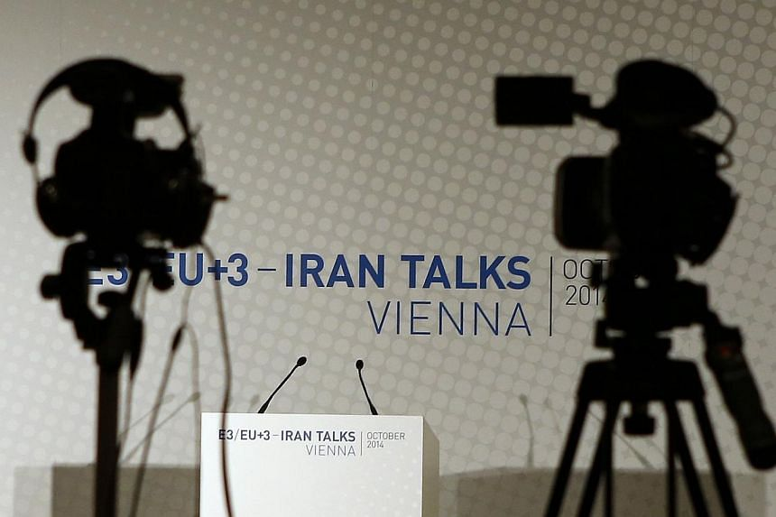 Video cameras are set up for a news conference prior to a meeting between EU foreign policy chief Catherine Ashton and Iranian Foreign Minister Mohammad Javad Zarif in Vienna in this Oct 14, 2014 file photo. -- PHOTO: REUTERS