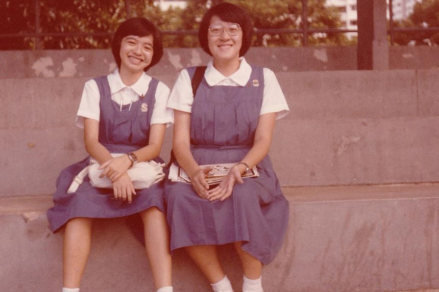 Dr Noreen Chan said her teachers encouraged her to think and to dream. She is with her friend Evelyn Koh (above) in a picture taken in 1981.--PHOTO: NOREEN CHAN
