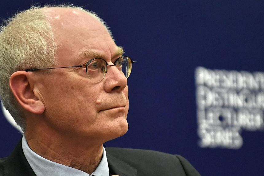 President of the European Council Herman Van Rompuy speaks at the Singapore Management University (SMU) presidential distinguished lecturer series in Singapore on Nov 17, 2014. -- PHOTO: AFP