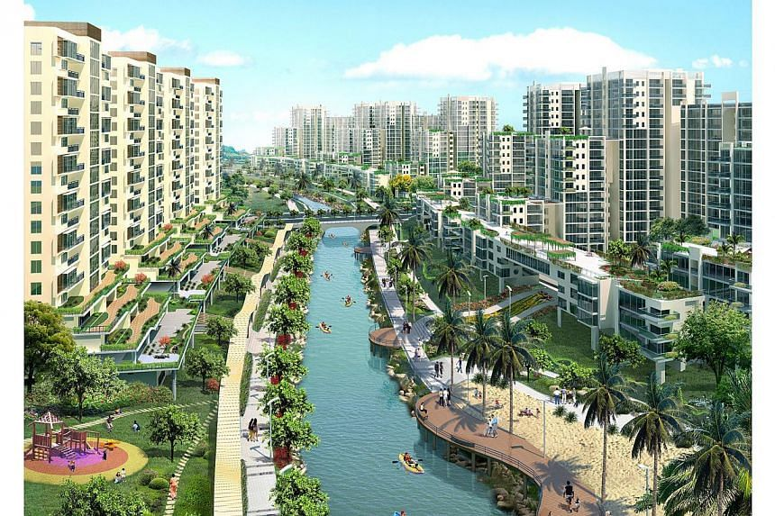 Artist's impression of the future Punggol Waterfront town.The Housing Board and Toronto-based design firm Urban Strategies have picked up an international award for their master plan of Punggol. -- PHOTO:HDB