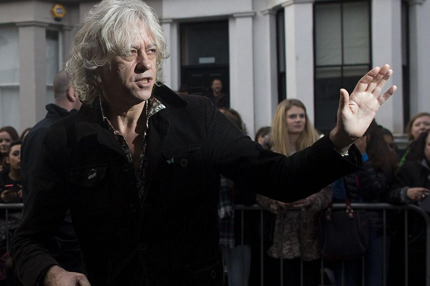 Irish musician Bob Geldof arrives at a west London studio to record the new Band Aid 30 single on Nov 15, 2014. -- PHOTO: AFP