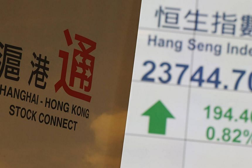 A banner introducing the Shanghai-Hong Kong Stock Connect is displayed in front of a panel showing the closing blue-chip Hang Seng Index at the Hong Kong Stock Exchange in Hong Kong.The stock exchanges of Hong Kong and Shanghai on Monday launch a muc