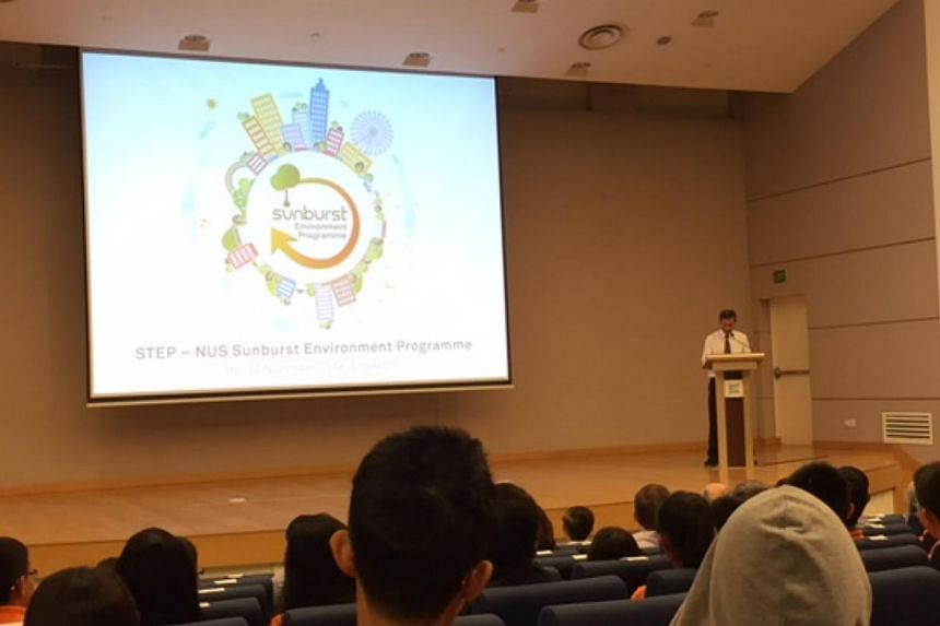 Dr Vivian Balakrishnan, Minister for the environment and water resources, at the opening ceremony of the second STEP-NUS Sunburst Environment Programme. About 150 students from nine countries, including Singapore, India and Brunei, took part in the f