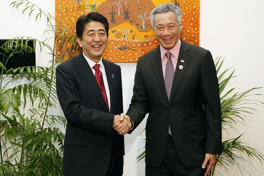 Singapore Prime Minister Lee Hsien Loong at a breakfast meeting with Japan Prime Minister Shinzo Abe at Novotel Brisbane Hotel, on Nov 17, 2014. At the meeting, they spoke about regional trade agreements, including the Regional Comprehensive Eco
