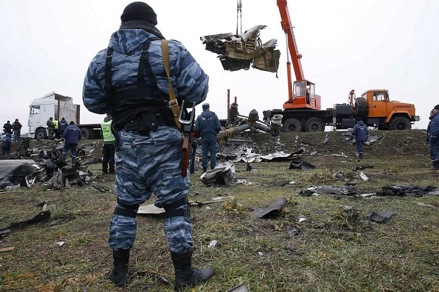 A pro-Russian separatist watches as a crane carries wreckage of the downed Malaysia Airlines flight MH17 at the site of the plane crash near the village of Hrabove (Grabovo) in Donetsk region, eastern Ukraine on Nov 16, 2014. -- PHOTO: REUTERS