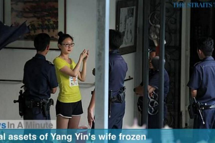 In today's News In A Minute, we look at how the local assets of Yang Yin's wife, Madam Weng Yandan, have been frozen by the High Court. -- PHOTO: SCREENGRAB FROM RAZORTV