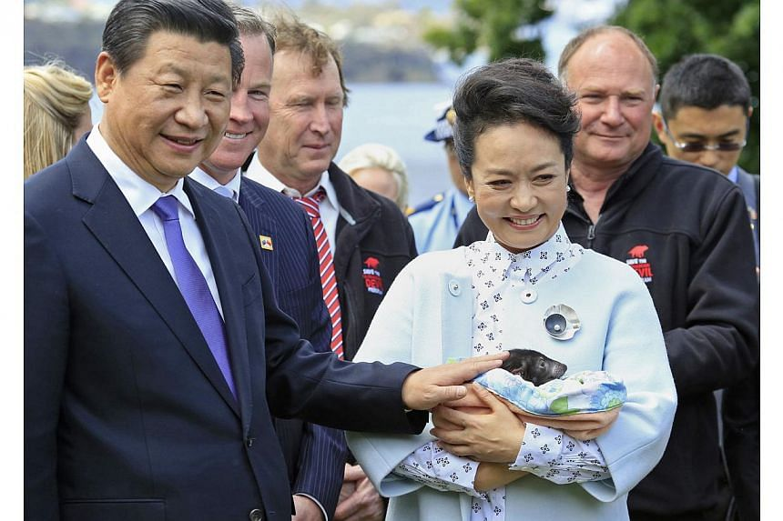 China's President Xi Jinping (left) and his wife Peng Liyuan (front R) hold a Tasmanian devil during their visit to Government House in the city of Hobart on Nov 18, 2014.China's President Xi Jinping Tuesday committed to an Antarctic cooperatio