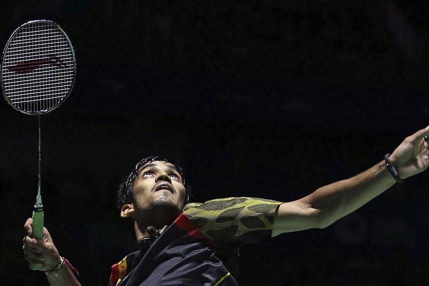 India's Kidambi Srikanth returns a shot during his men's singles final against China's Lin Dan at Badminton China Open in Fuzhou, Fujian province on Nov 16, 2014.  Overnight sensation Kidambi Srikanth will try to write more positive headlin